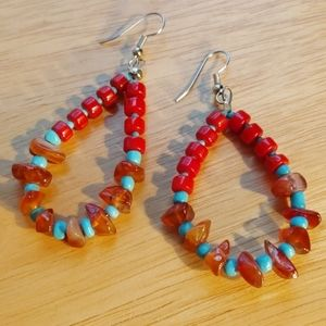 Coral turquoise and carnelian sterling earrings